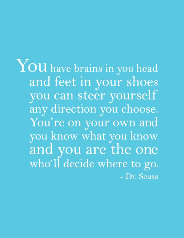 Dr Seuss quote poster blue