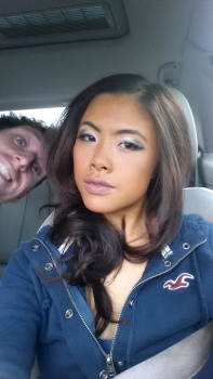 The completely un-adulterated photo showing the level of make up required...goofy fiancé optional...